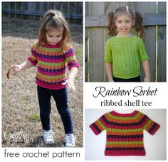 FREE crochet pattern Rainbow Sorbet Tee designed by Cre8tion Crochet