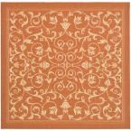 Courtyard Terracotta/Natural 7 ft. 10 in. x 7 ft. 10 in. Indoor/Outdoor Square Area Rug
