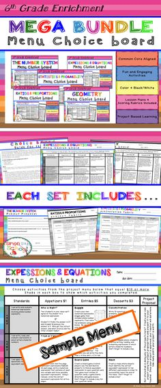 6th Grade Math Enrichment Choice Boards for all SIXTH GRADE COMMON CORE STANDARDS!