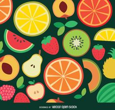 Colorful background with fruits done in a simplistic and flat style, this cool vector can be used to decorate kitchen items like tablecloths, mugs and