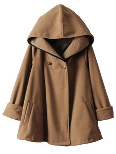 Camel Hooded Long Sleeve Woolen Cape Coat -SheIn(Sheinside)