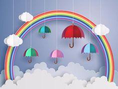 Kate Rainbow umbrella cloud children/newborn backdrop photography Source by Katebackdrops