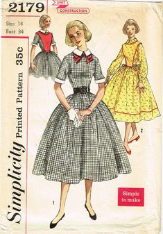 1950s Vintage Simplicity Sewing Pattern 2179 Misses Dress w