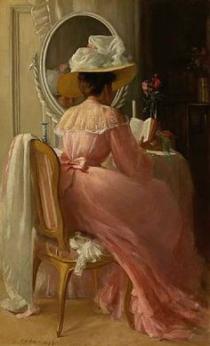 """""""A Lady in Pink"""", 1899 / Patrick William Adam Victorian Art Reading Art, Woman Reading, Reading Time, Vintage Art, Vintage Ladies, Pink Ladies, Lady In Pink, Female Images, Female Art"""