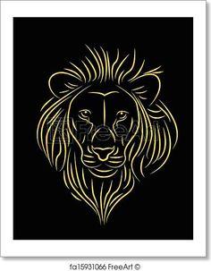 Vector illustration of golden lion. Free art print of Golden lion. Roaring Lion Drawing, Lion Drawing Simple, Lion Head Drawing, Lion Vector, Lion Clipart, Rainbow Lion, Lion Illustration, Lion Poster, Golden Lions