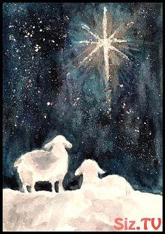 Xmas sheep and star - Malerei - Watercolor Christmas Cards, Watercolor Cards, Watercolor Paintings, Watercolors, Painted Christmas Cards, Sheep Paintings, Christmas Nativity, Christmas Star, Christmas Crafts