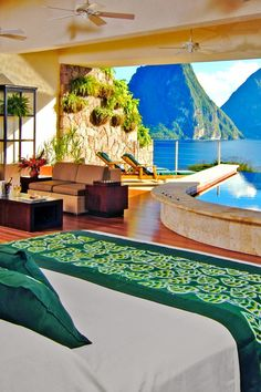 Most suites have private infinity pools just steps from the bed and icon Piton views. #Jetsetter