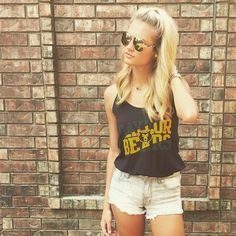Light denim shorts + Baylor Bears tank + aviators