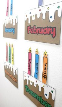 Laminate and use a dry erase marker to write… Printable classroom birthday chart. Laminate and use a dry erase marker to write the names of each student on the candles and place on the birthday cake month. Birthday Chart Classroom, Birthday Bulletin Boards, Birthday Wall, Birthday Charts, Preschool Birthday Board, Diy Birthday, Class Birthday Display, Owl Theme Classroom, Kindergarten Classroom Decor