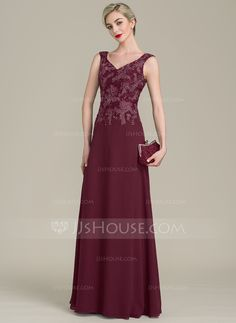 dc2e770d19d A-Line Princess V-neck Floor-Length Chiffon Lace Mother of the Bride Dress  With Beading Sequins