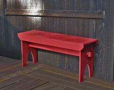 """Farmhouse Bench - Red distressed bench, rustic country painted bench 39"""" x 19"""" x 10.5"""""""