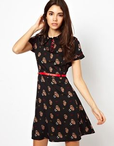 Yumi Owl Print Dress With Belt