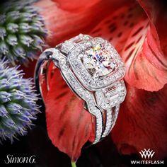 Simon G passion diamond engagement and wedding ring.