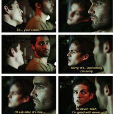 Derek always intimidating people... in a cute and funny way!!