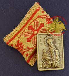 Amulet Orthodox Filakto - Pendant Rectangular with Metal Icon of Saint Stylianos Byzantine Art, Orthodox Christianity, Traditional Fabric, Religious Icons, Amulets, Art Store, Holi, Folk Art, Greek