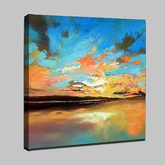 Pintada a mano Paisajes Abstractos Abstracto Moderno/Contemporáneo Un Panel Lienzos Pintura al óleo pintada a colgar For Decoración 2018 - $103.69