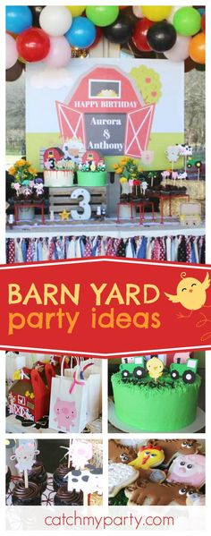 Check out this fun Barn Yard birthday party! The cakes are awesome!! See more party ideas and share yours at CatchMyParty.com