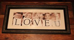 Grandparent's Day Gift 2012.  I found a this idea on Pinterest and actually DID it!!  My sister in law took photos of her children with a blank sheet of paper, I did the same with mine, added letters in Photoshop. Found inexpensive frame at Walmart meant to hold 2 horiz. 5x7's, cut middle divider out of the matte. I wish matte was brown, but there was no time...