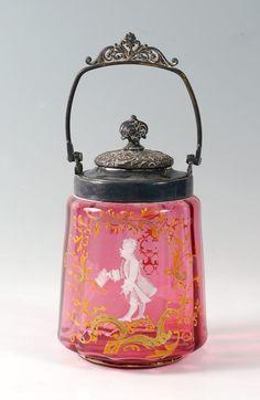 CRANBERRY GLASS BISCUIT JAR : Lot 518