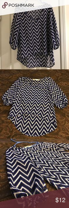 Women's pattern blouse Thin almost see thru blouse. Pretty blue white and black pattern. Dressy or Casual wear. Excellent condition rarely worn. Tops Blouses