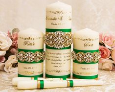 Emerald and Gold Wedding Unity Candle Set, Family Wedding Candles, Personalized Unity Candles Memory Candle Wedding, Wedding Unity Candles, Taper Candles, Entrance Table, Wedding Memorial, Candle Set, Personalized Wedding, Unique Weddings, Gold Wedding