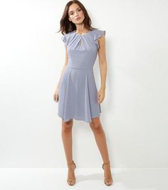 Silver Pleated Neck Flutter Sleeve Skater Dress | New Look