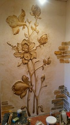 artistic painting of the wall Bedroom Murals, Wall Murals, Wall Art Designs, Wall Design, Wall Sculptures, Sculpture Art, Mural Cafe, Plaster Art, Acrylic Artwork