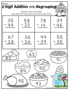 2 digit addition with regrouping worksheets grade - Mais Sobre Saúde Bucal 2019 Worksheets For Kids, Kindergarten Worksheets, Printable Worksheets, Math Activities, Coloring Worksheets, Thanksgiving Math Worksheets, Kindergarten Addition, Addition Activities, Kindergarten Fun
