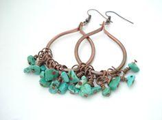 Bohemian Style Hoop Earrings-Handmade Copper Hoop Earrings-Wirewrapped Turquoise…