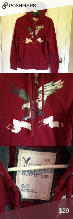 Men's American Eagle Hoodie Men's American Eagle deep red zip up hoodie. Size small. American Eagle Outfitters Shirts Sweatshirts & Hoodies