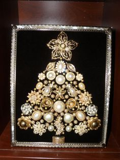 """One-of-a-Kind Framed Vintage Jewelry Art ChristmasTree Handcrafted """" Pearls Rhinestone Gold-tone"""""""