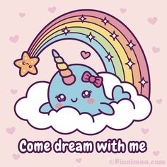 Lovely Narwhal Girl Finnimoo cuddles with a fluffy cloud and invites you to join her dreaming under a sparkly rainbow tail left by a cute shooting sea star. Cute Easy Drawings, Cute Kawaii Drawings, Kawaii Doodles, Kawaii Narwhal, Cute Narwhal, Cute Cat Memes, Cute Cat Gif, Cute Kawaii Animals, Kawaii Cute