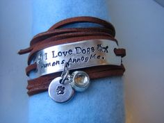 Hand Stamped  Brown Leather Lace Wrap I Love Dogs   by thepurediva, $15.00