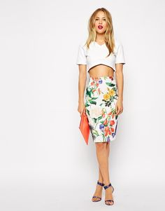 Pencil Skirt In Textured Botanical Floral Print. For the purposes of this board, I'd change the crop top