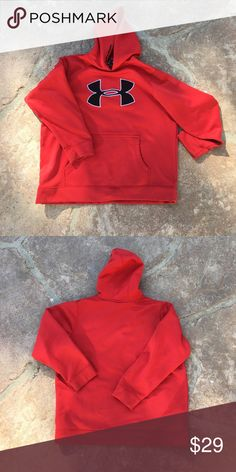 Under Armour Boys Red Hoodie Excellent condition Under Armour Shirts & Tops Sweatshirts & Hoodies
