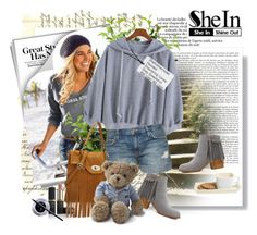 """Win SheIn Hooded Drawstring Loose Grey Sweatshirt"" by astromeria ❤ liked on Polyvore featuring Brucs, Current/Elliott, Lexington, Maybelline, women's clothing, women, female, woman, misses and juniors"
