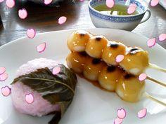 "Japanese dessert ""Sakura-mochi""&""Mitarashi-dango"""