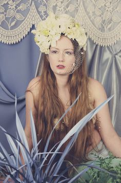 Hydrangea and lizzie head dress with retro netting Photographer Laura Coughlan Makeup Rhiannon Chalmers Assistant: jade gellard Model Esther May