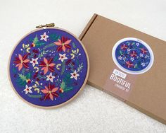 Winter Flowers Embroidery Kit Christmas Embroidery Kit Modern Xmas Hoop Art Kit Christmas Gift Ideas Holly Embroidery Floral Embroidery by OhSewBootiful #embroidery #etsy #etsyuk #gifts #giftsforher #homedecor #hoopart #fiberart #handembroidery #handmade #ohsewbootiful