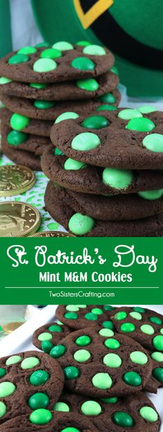 Patrick's Day Mint M&M Cookies – MrsJoe Ponegalek St. Patrick's Day Mint M&M Cookies St. Patrick's Day Mint M&M Cookies – a fun and colorful St. Mini Desserts, Holiday Desserts, Holiday Baking, Holiday Treats, Easy Desserts, Holiday Recipes, Delicious Desserts, Dessert Recipes, Plated Desserts
