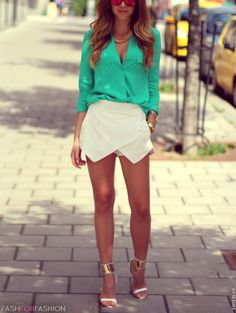 Style my white skort: Love the fresh pop of colour this blouse gives, nice spring, summer look