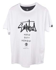 Cool Hip Hop T shirt for men - Hustle Duty Honour white men printed graphics-T shirt -Smokeclothing.com