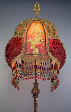 Dragons Victorian Lampshade Red Velvet Antique textiles