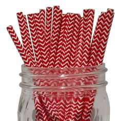 Chevron Stripe Paper Straws 100pcs Red