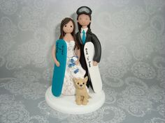 Custom Handmade Snowboard Theme Wedding Cake Topper by mudcards, $150.00