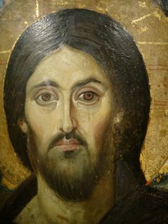 Christ from icon at St. Catherine's in Mount Sinai I would never try to paint this icon with egg tempera. Byzantine Icons, Byzantine Art, Religious Icons, Religious Art, Christus Pantokrator, Saint Catherine's Monastery, Cubist Paintings, Jesus Christ Images, Jesus Painting