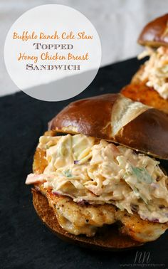 Buffalo Ranch Cole Slaw Topped Chicken Sandwich