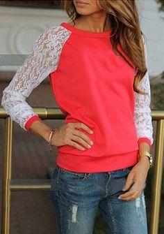 sweat-shirt décontracté dentelle contrasté -rouge 11.03