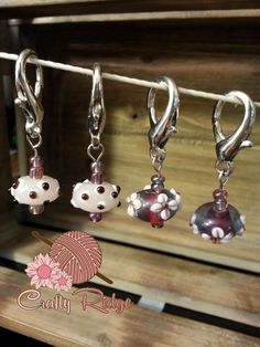 Pink and Purple Flower Stitch Markers by CraftyRidge on Etsy, $10.00