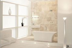 Pure White Bathroom Interior Design by Light Location Pure White Interior Design by Light Location Modern White Bathroom, White Bathroom Tiles, Brown Bathroom, Stone Bathroom, White Bathrooms, Masculine Bathroom, Cream Bathroom, Zen Bathroom, Shower Tiles